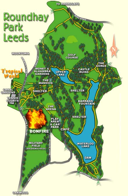 Roundhay Park Map - 5th November Roundhay Park Annual Guy Fawkes Bonfire and Firework Display