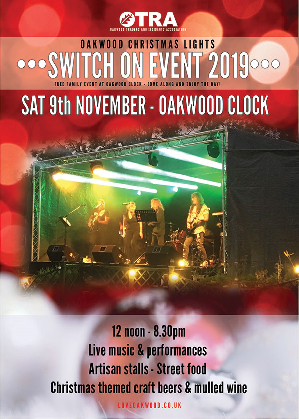Oakwood Christmas Lights Switch-on event Saturday 9th November 2019 at Oakwood Clock