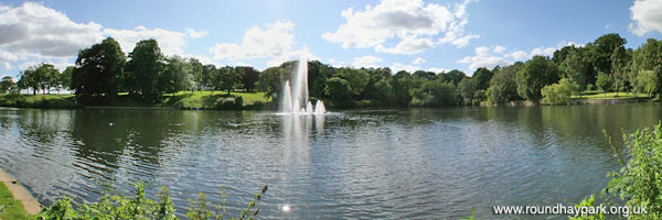Roundhay Park small lake and fountain panorama